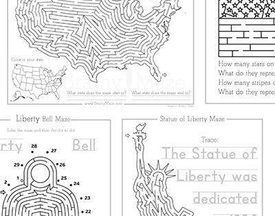 Free USA Mazes and Activity Pages for Kids. Perfect for