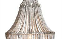 white wash metal and wood beads chandelier - This coastal ...