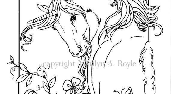 ADULT COLORING PAGE, digital download, Unicorn, flowers