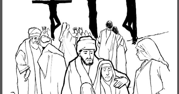 Crucifixion Story. Coloring page, script and Bible story