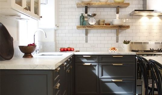 Benjamin Moore Kendall Charcoal base cabinets with BM