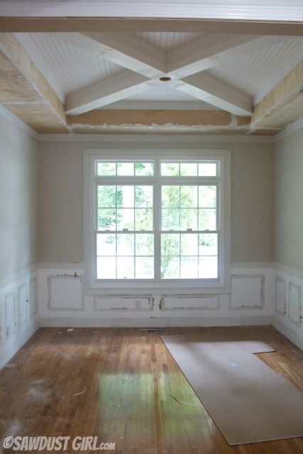 tray ceiling with x beams  Molding ideas  Pinterest