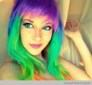 rainbow hair color beautiful