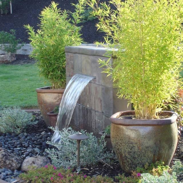 Wasserfall Garten Pflanzen Bambus Antike Kubel