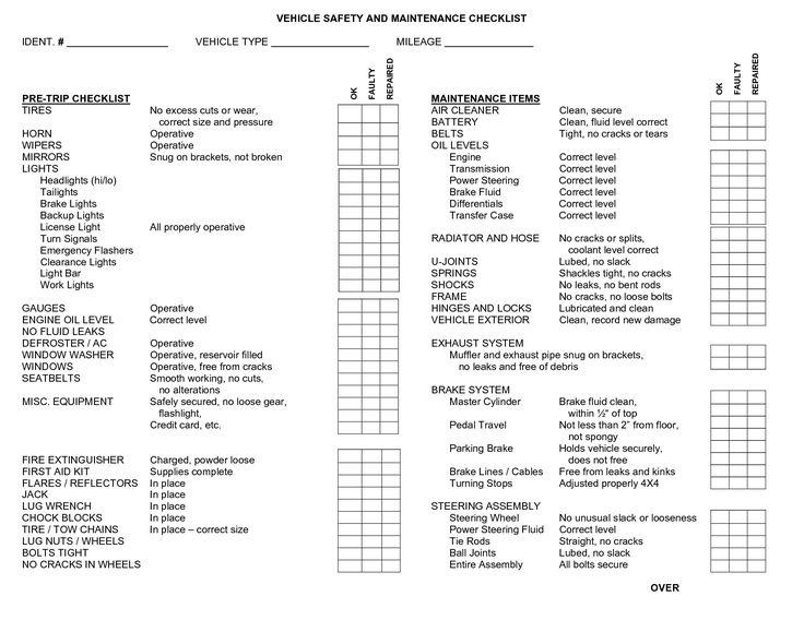 Vehicle Safety Checklist Template Httpwwwlonewolf SoftwarecomAutomotive20Wolf20Purchase