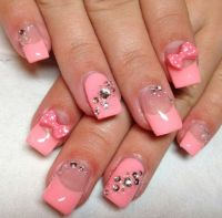 Bows and diamond nails super cute..  | Pretty Nails ...