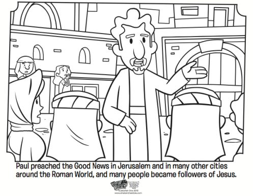 Paul Preaching Free Coloring Page from the Book of Acts