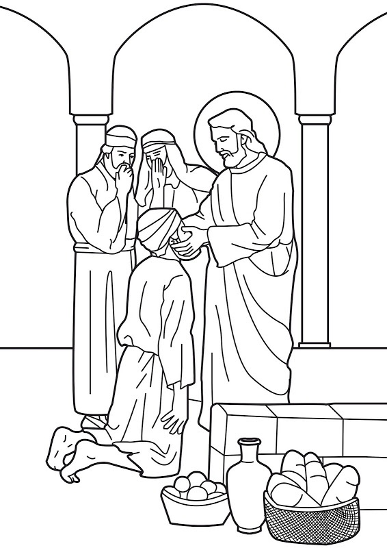 Jesus heals the man born blind. Bible coloring page