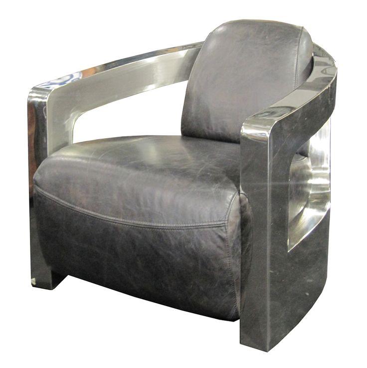 Four Hands Carnegie Sinclair Grey Leather Club Chair
