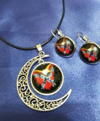 Confederate Flag Eagle Necklace and Earrings by ...
