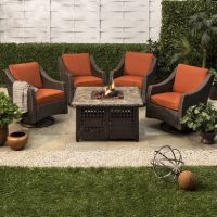 Belvedere 5-Piece Wicker Fire Pit Set | For Home ...