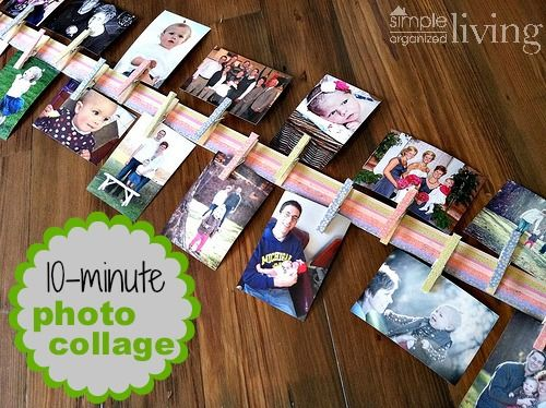 10 Minute Photo Collage Yardstick And Clothespins Easy
