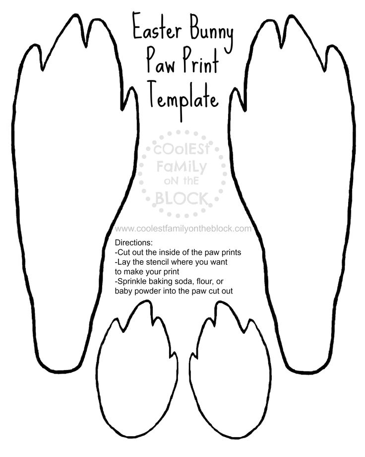 #Free Printable Easter Bunny Paw Prints Template: Front