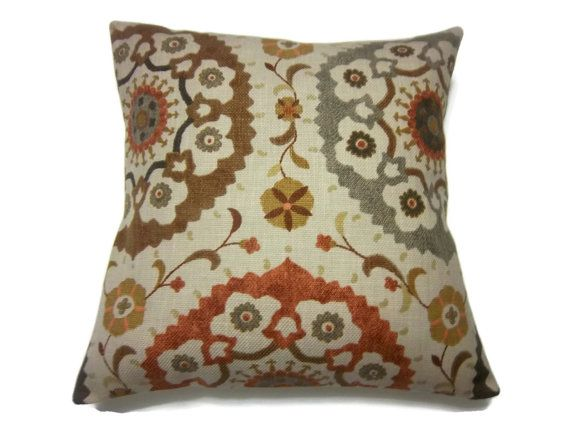 Decorative Pillow Cover Brown Gray Camel Mustard Gold
