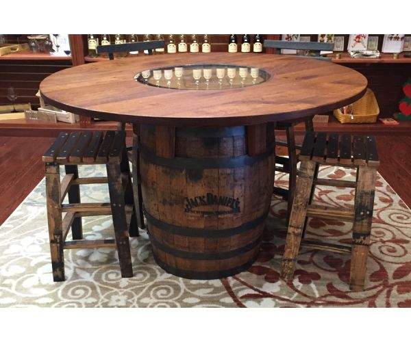 Jack Daniels Whiskey Barrel Table and Stools  Family Room