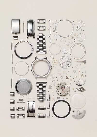 Disassembled Russian Vostok watch from the 90s. Number of parts: 130 – Todd McLellan