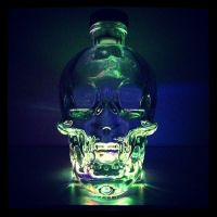 Our LED lights inside an empty Crystal Head Vodka bottle ...