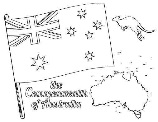 Printable Australian flag coloring page. Free PDF download