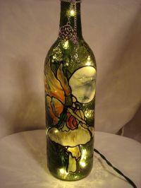 wine bottle lamps | Mushroom Fairy Wine Bottle Lamp | Wine ...