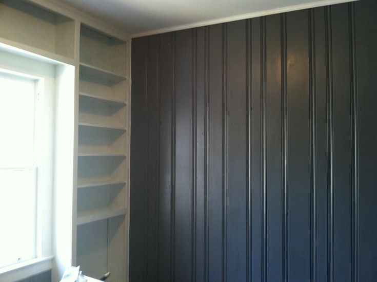 Painted Dark Wood Paneling Grey And White Shelving Turned Out Great Our RemodelOur Projects