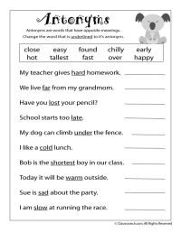 Reading Worksheets: Antonyms and Synonyms antonym ...