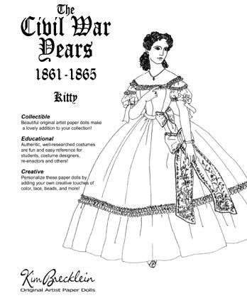 Victorian paper dolls, Civil wars and Clothing styles on