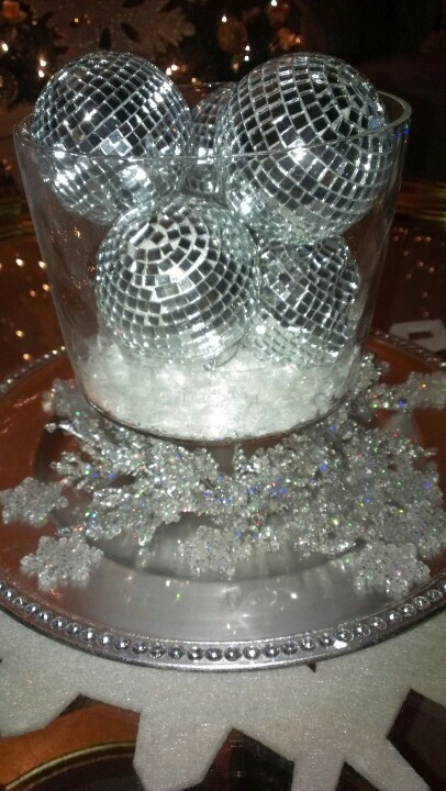 Living Room Centerpiece Disco Balls Snowflakes And