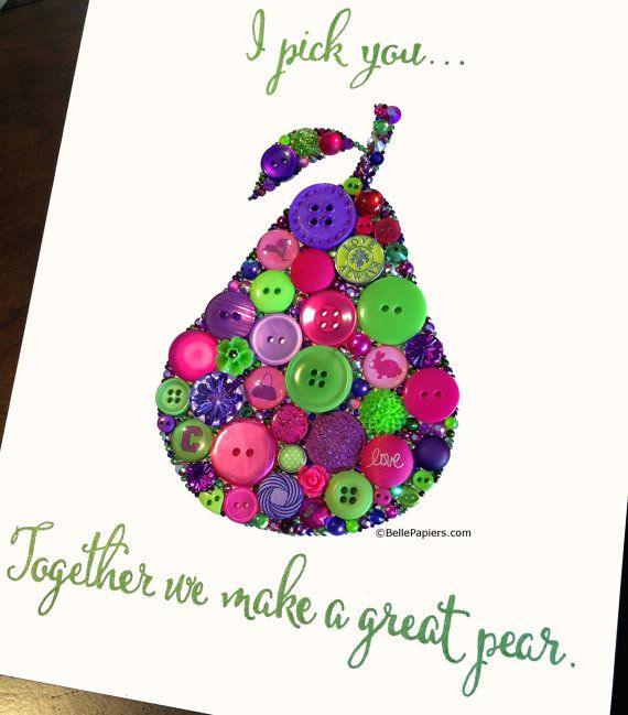 Fourth Anniversary  Fruit and Flowers Anniversary  Button Art Pear  Traditional Wedding