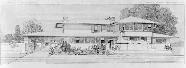 Frank Lloyd Wright 1910 illustration by the architect of a