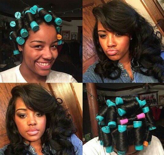 See what roller setting your extentions can dogive you nice big bouncy curls  Weave