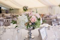 Silver footed bowl centrepieces with blush pink roses ...