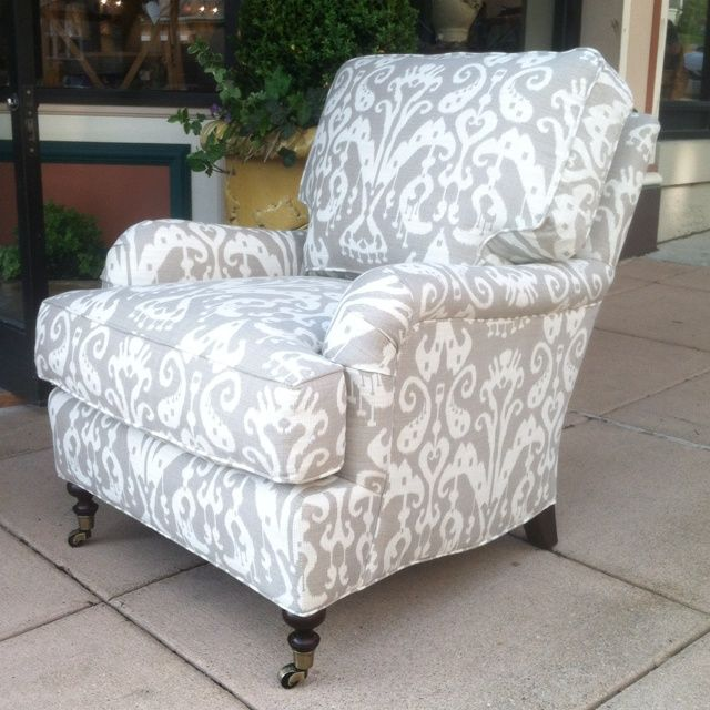 Lee Industries upholstery armchair in soft grey and cream