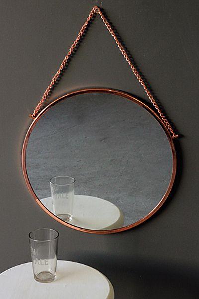 Bonlina Copper Circular Mirror on Chain  bathroom mirror