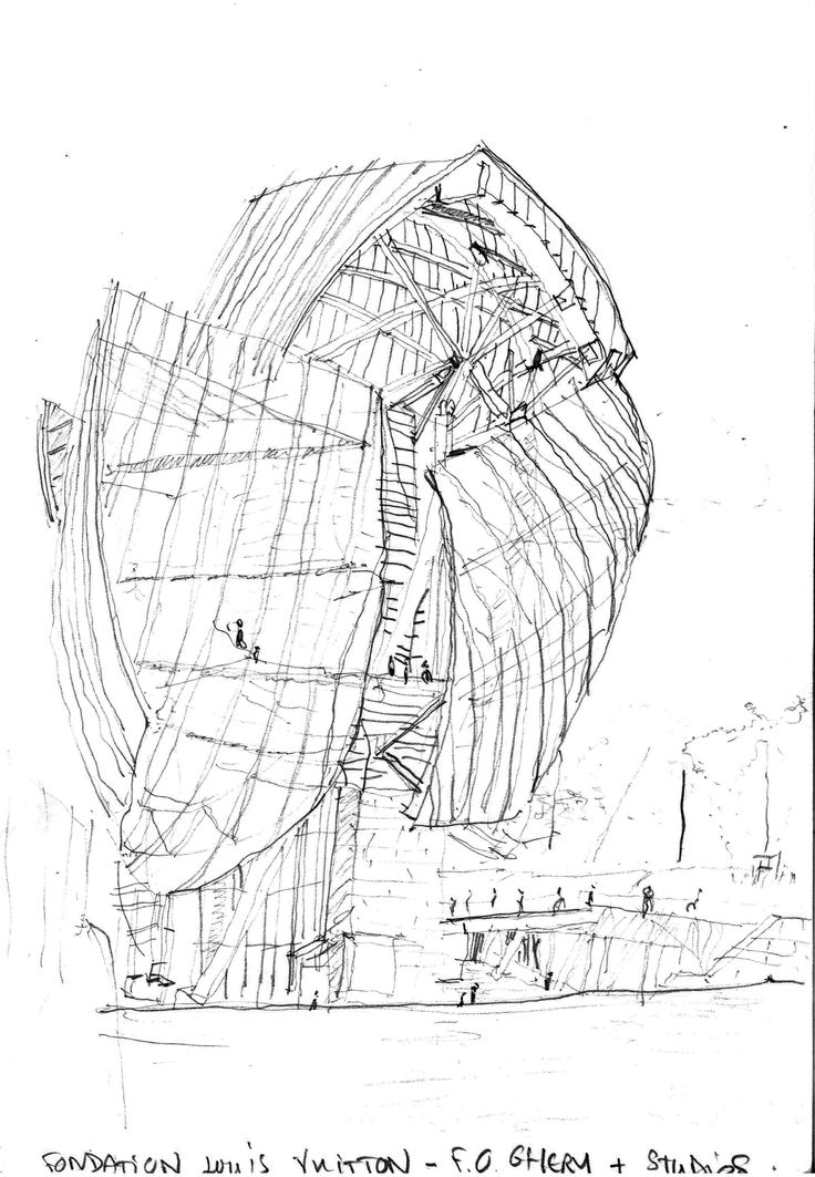 fondation louis vuitton paris drawings by Frank Gehry