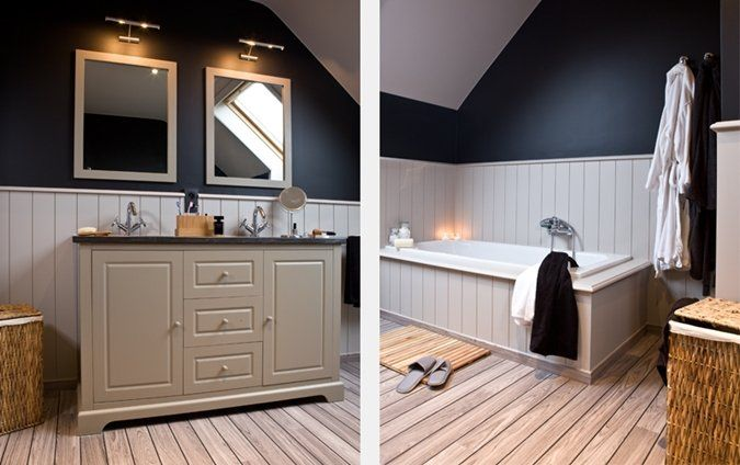 Een klassieke landelijke badkamer met lambrisering