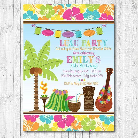 Tiki Luau Invitation Luau Invite Luau Party Hawaiian