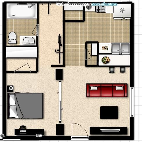 Studio apartment Layout  Layouts  Pinterest  Apartment