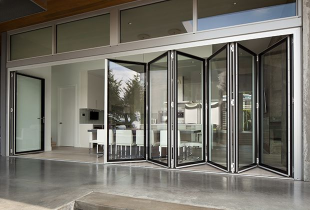 Folding Glass Walls Eight systems of connected bifold door panels offer hundreds of foldand