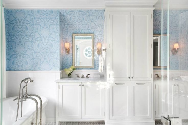 Traci Rhoads Interiors  bathrooms  tiled half wall