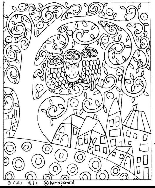 Folk Art Owls Coloring Pages