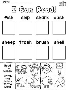 Phonics Center Activity Worksheets or Homework for the
