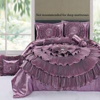 Ruffled Romance Mauve Rosette Comforter Bed Set