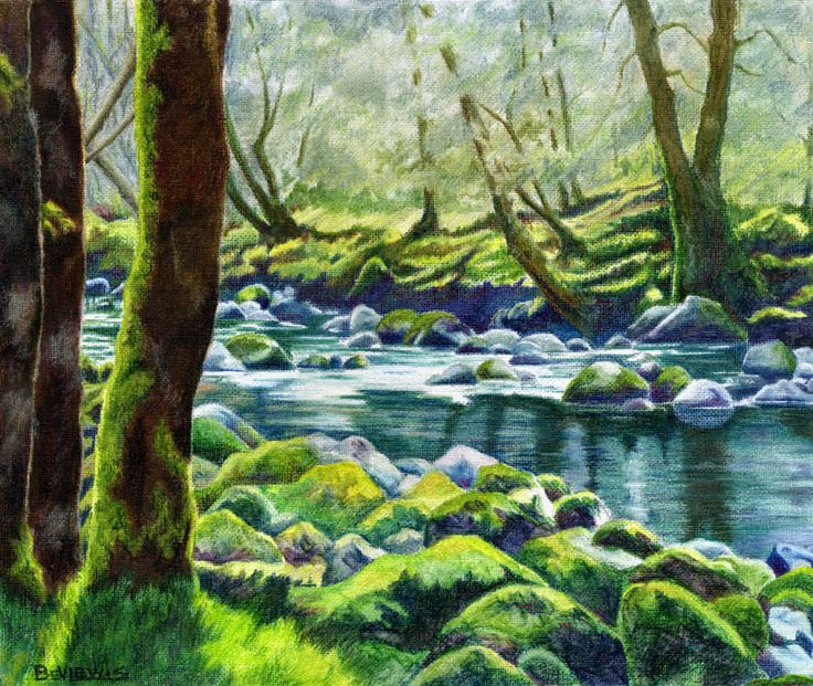 Colored Pencil River Drawing