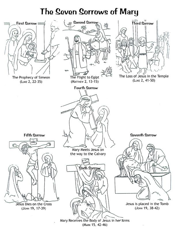 The Seven Sorrows of Mary- printable coloring page for