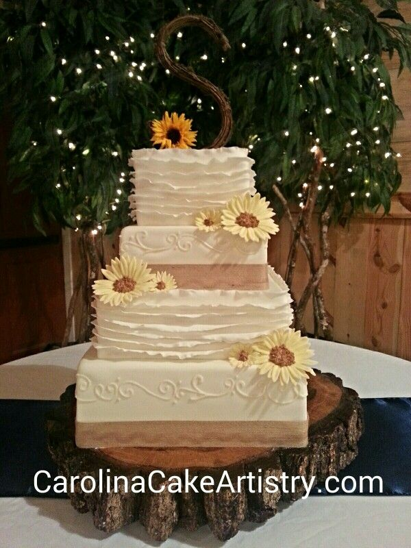 Rustic Country Square Wedding Cake With Edible Sunflowers