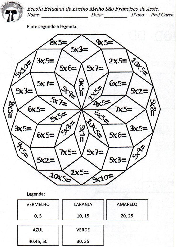 Pinte a mandala com os resultados da multiplicação do 5