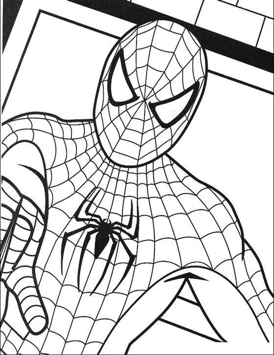 Spiderman And Birthday Cake Coloring Page