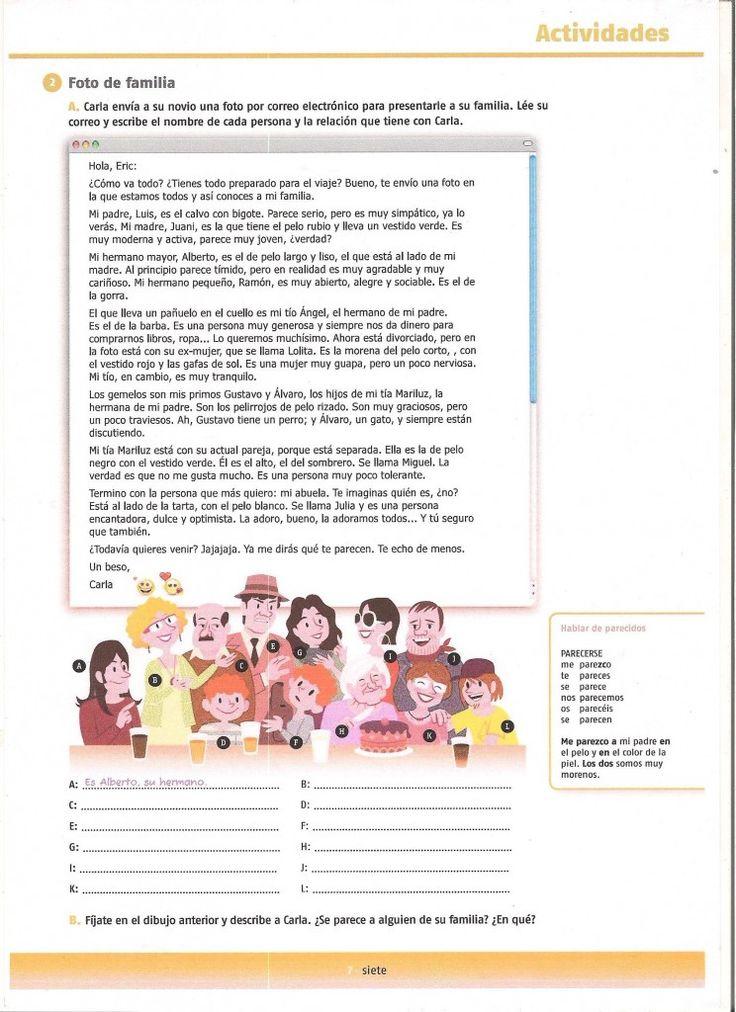 texto-actividad la familia- reading activity family description