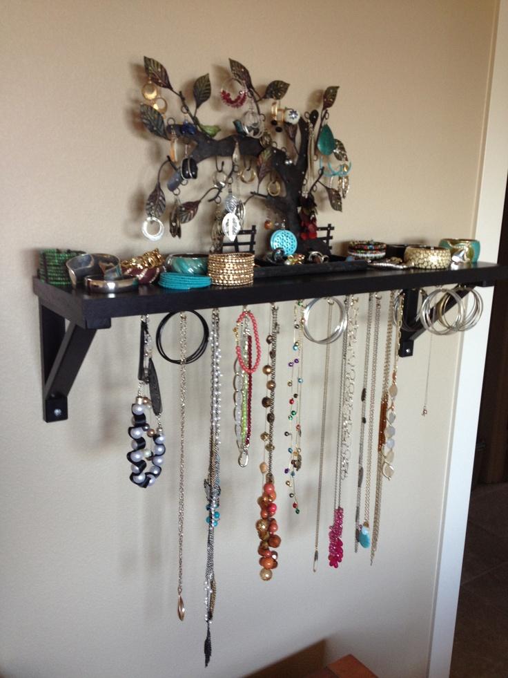 Home Made Jewelry Organizer Ikea Shelf And Hook Screws