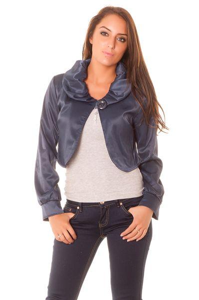 bolero fashion pour femme en bleu marine vetement femme pas cher tendance